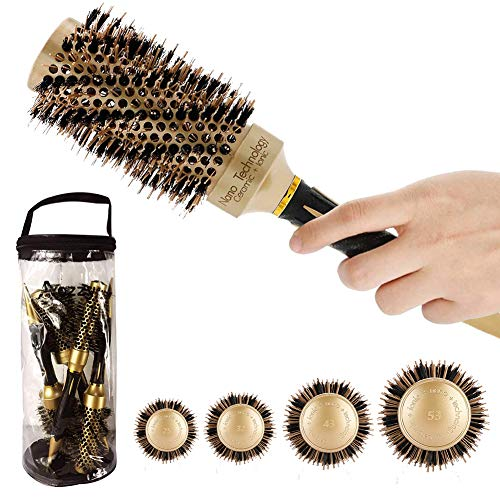 Aozzy Round Brush Set for Blow Drying, Professional Hair Styling Brush , Thermal Nano Ceramic Ionic Barrel Round Curling…