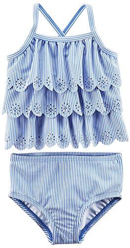 Carter's Baby Girls' Two Piece Swimsuit, Blue Stripe, 3M