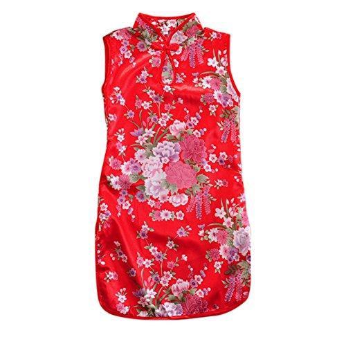 Soly Tech Kids Girls Peony Print Sleeveless Chinese Qipao Cheongsam Dress -