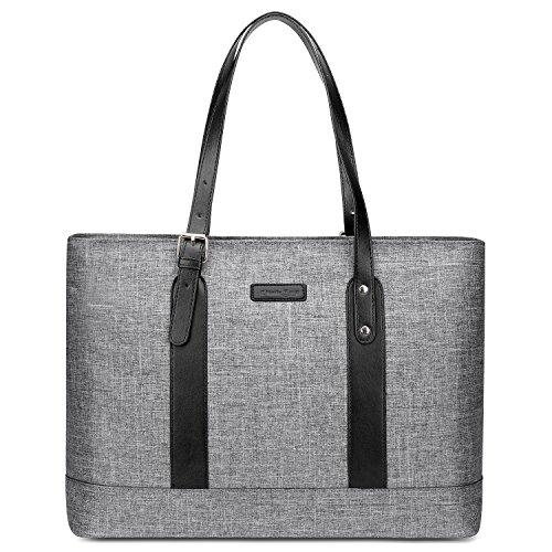 UTOTEBAG Women 15.6 inch Laptop Tote Bag Shoulder Bag Lightweight Nylon Notebook Briefcase with Adjustable Straps Slim Ultrabook Tablet Computer Bag for Business Work (Upgraded Version Grey) ()