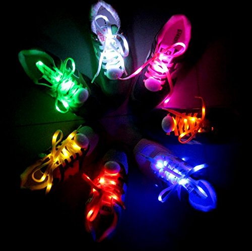 AcTopp 1 Pair LED Shoelaces High Visibility Soft Nylon Light Up Shoelace with 4 Modes Rainbow Colors for Night Safety Running Biking, Or Cool Disco Party, Cosplay, Hip hop Dance