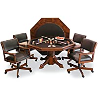 Fairview Game Rooms 3-in-1 Combination Game & Dining Table Set with 4 rocker-swivel chairs (Chestnut finish)
