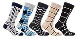 Socks n Socks-Mens 5-pair Luxury Fun Cool Cotton Colorful Dress Socks Gift Box