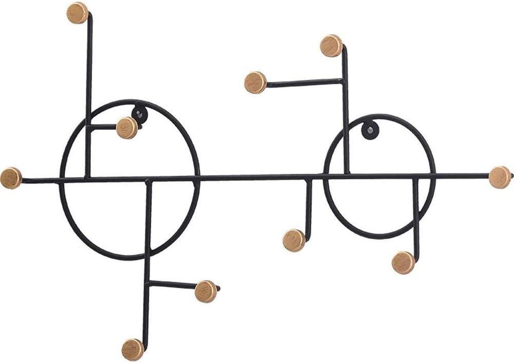Dongbin Perchas de Capa from Earth Escudo de Entrada suspensión de la Pared de Hierro Forjado de Entrada Marco Creativo Cocina Baño Escudo con 10 Ganchos (Negro) Que cuelga en árbol