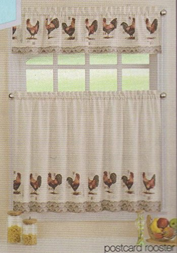 Postcard Cafe (Ellery Homestyles Rooster & Postcard Theme Cafe Curtain Set (Tier & Valance))