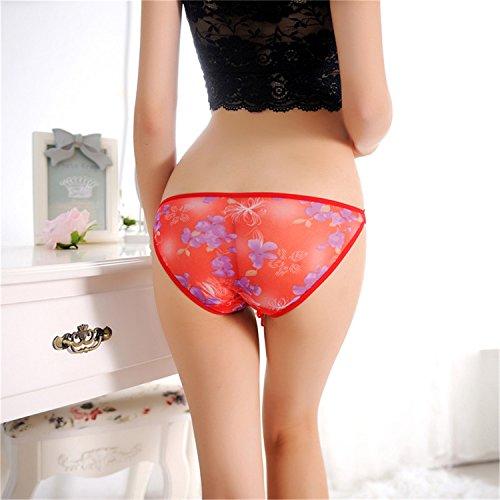 Czj-Innovation G-String Thong Tangas Bragas para Mujer - Tamaño Libre Rojo