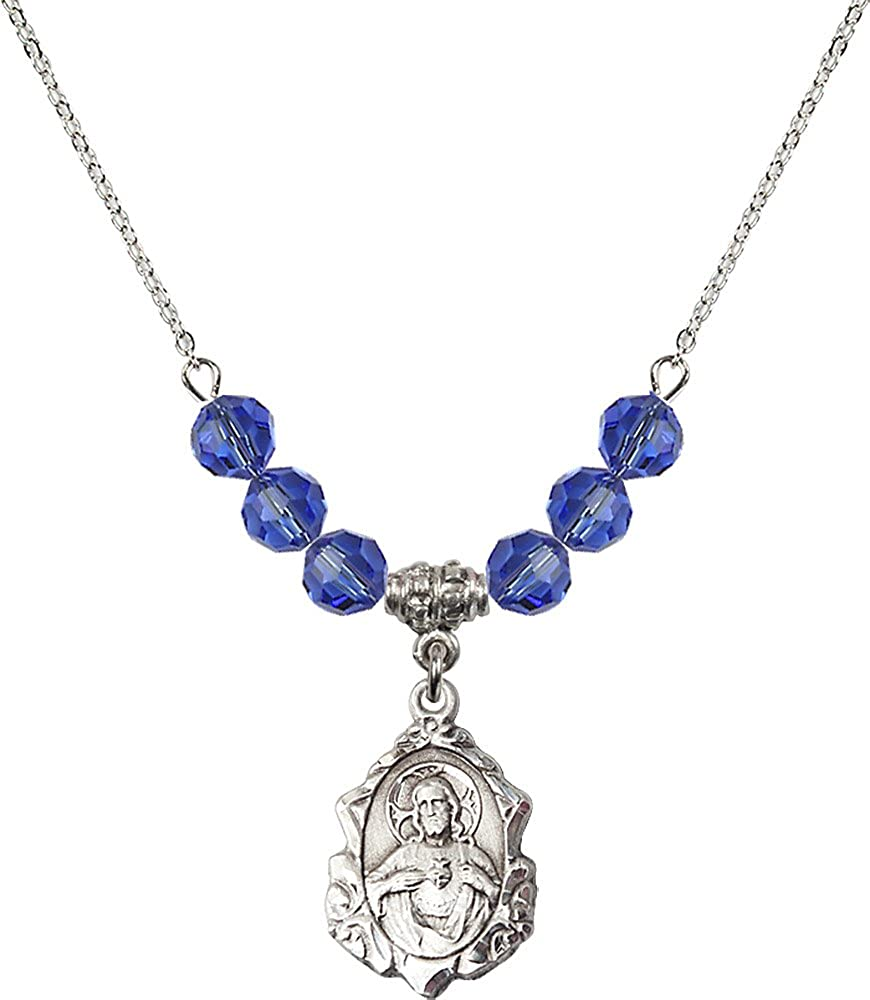 18-Inch Rhodium Plated Necklace with 6mm Sapphire Birthstone Beads and Sterling Silver Scapular Charm.