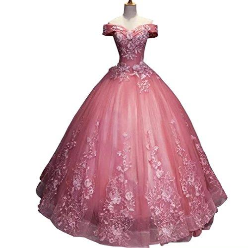 22a103971f3 Dimei Off Shoulder Quinceanera Dresses Organza Ball Gowns Women s Dresses  Long Prom Dress Evening Dress Pink