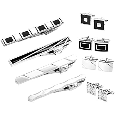 PiercingJ 12pcs Men's Classic Stainless Steel Necktie Clips Tie Bar Pin Tie Clip and Cufflinks Set for French Shirts Tuxedo Silver Golden Black Tone + Gift Box