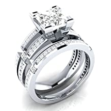 Dream Jewels 3 Piece Genuine Princess Cut White Diamond Cz STERLING SILVER 925 Alloy Rhodium Plated Engagement Wedding Bridal Ring Sets For Women