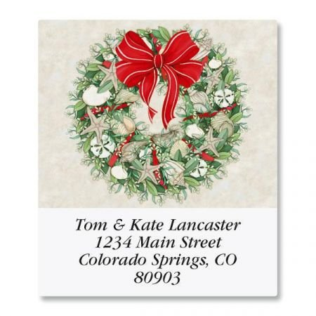 Coastal Wreath Square Christmas Return Address Labels - Set of 144 1-1/2 x 1-3/4 Self-Adhesive, Flat-Sheet labels