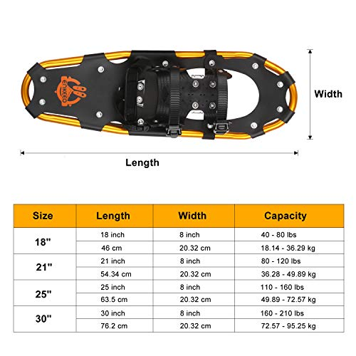 Taille Noir Supporter 95 Enkeeo À Jusqu'à Neige 49kg 36 Orange Raquettes Choix Et Kg 53cm tZ1zxq0w