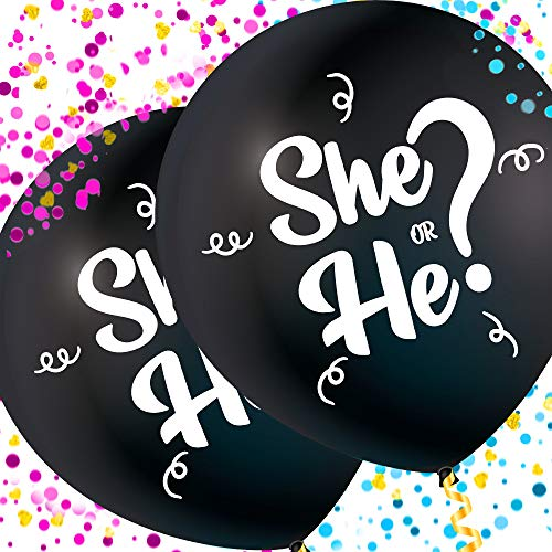 GenderSense Jumbo 36 Inch Baby Gender Reveal Balloon | Big Black Balloons with Pink and Blue Heart Shape Confetti Packs for Boy or Girl | Baby Shower Gender Reveal Party Supplies Decoration Kit]()