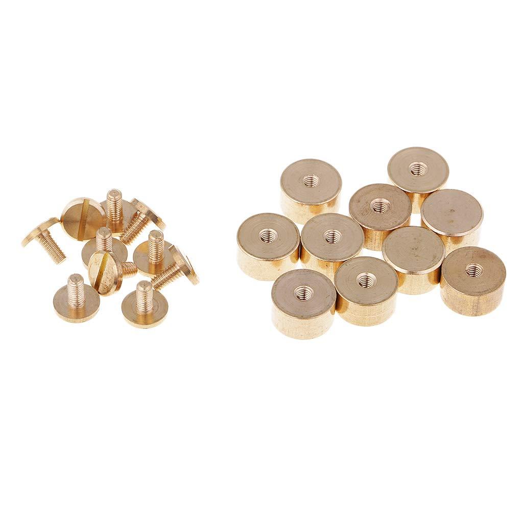 Dailymall 10 Set in Ottone Massiccio per Bottoni Borchie Rivetti per Avvitamento per 9 x 8 mm Ottone