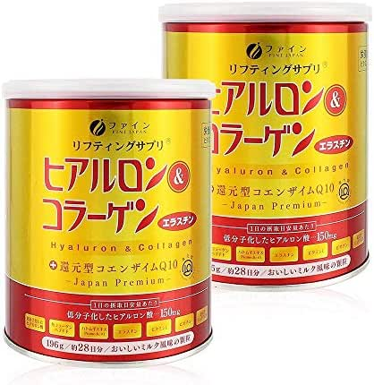 FINE Japan Hyaluronic & Collagen + Ubiquinol (196g x Approx. 28-Day Course) 2 cans Set
