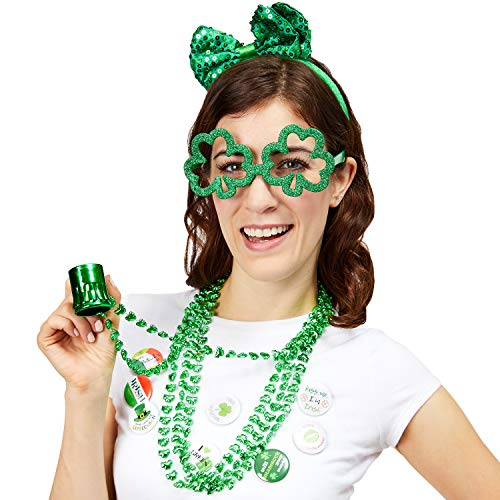Juvale 15 Piece Set St. Patrick's Day Party Accessories - Sequin Bow Headband, Bead Necklaces, Shamrock Glasses, Socks, and Pins