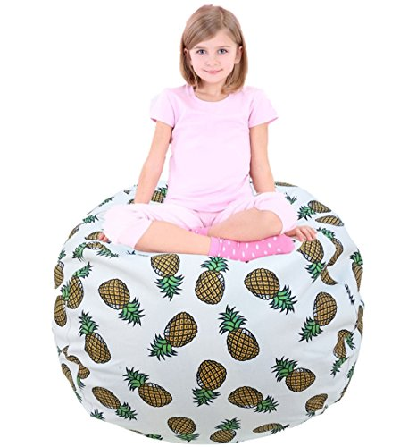 EDCMaker Large Soft Bean Bag Chair Cover, Portable Toys Bag, Convenient Storage Blankets, Pillows&Toys, Lovely Pineapple Pattern Available for Boys And Girls - 48