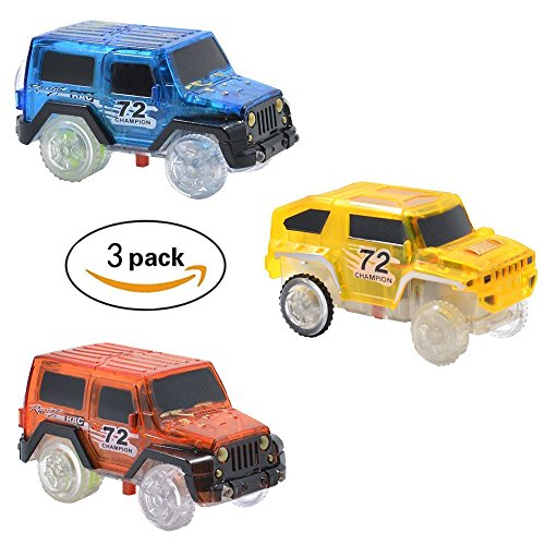 Magic Track Cars Replacement Light Up Toy Cars Racing Track Accessories Compatible with Most of Tracks with Flashing LED Lights Glow in the Dark Best gifts for Boys and Girls (3 Pack)