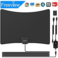 Indoor HDTV Antenna, Skywire Digital Antennas Indoor Amplified 50-80 Miles Range With Usb Adapter 4K HD VHF UHF OTA HDMI DTV TVFOX Freeview For Life Local Channels Broadcast (Black-one)