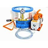 Glass Vac 3 Gallon Tall Stainless Steel Chamber with 3 CFM Single Stage RS-1 Pump Kit Pack *FREE SHIPPING*