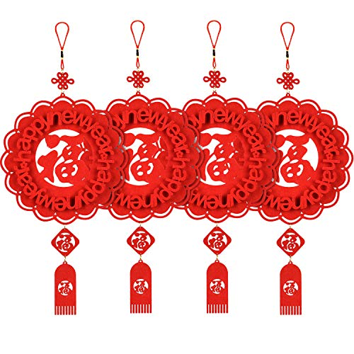 SATINIOR 4 Pieces Chinese Fu Pendant New Year Decorations Festival Hanging Pendant for Wedding Festival Home Decor, Red ()