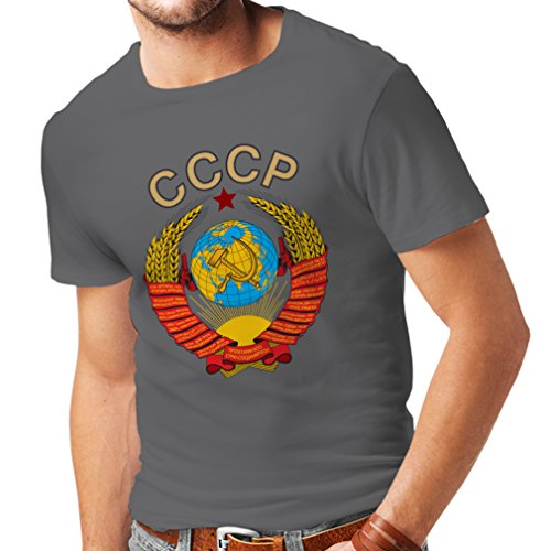 lepni.me T Shirts For Men SSSR Soviet Union Shirt Russian Flag Shirt (XX-Large Graphite Multi Color)