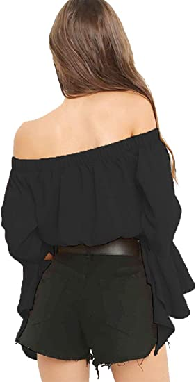 Tralounry Womens V Neck Wrap Long-Sleeve Basic Front Tie Tops