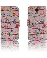 Pink OWLS Leather Wallet Purse clutch Handbag Samsung S4 Case Cover ID,Credit Card,Cash