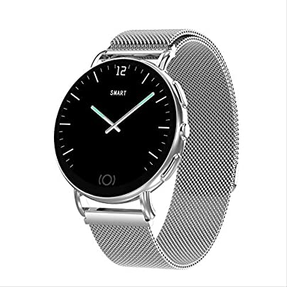 kkart Smartwatches Fitness Tracker Smart Bracelet High-End Round-Screen Metal Leather Wristband Men And Women Fashion Heart Rate Meter Inggspinner Sports Technology Watch Silver Belt Estimated Price £35.00 -
