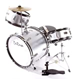 "NEW DeRosa DRM316 3 Piece 16"" Kid's Junior Drum Set- Silver"