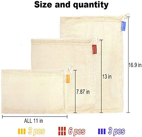 Reusable Produce Bags GroceryLONOVE12 Pack Mesh Produce Bags Cotton Reusable Washable Eco Friendly