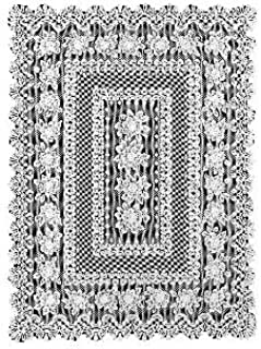 product image for Heritage Lace Rose 52-Inch by 72-Inch Rectangle Tablecloth, Ecru