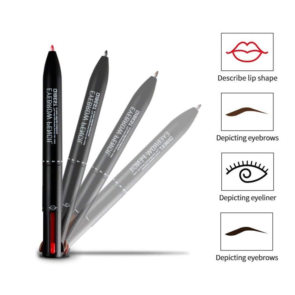ASKSA Multifunktionale Automatische Make-up Stift 4 In 1: Augenbrauenstift, Eyeliner Pencil und Lip Pencil QIBEST