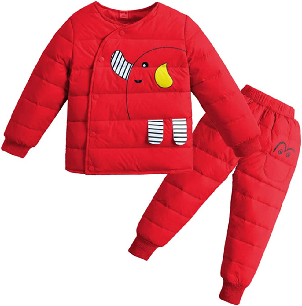 Two Piece Down Winter Jacket with Ski Pants KINDOYO Unisex Snowsuit
