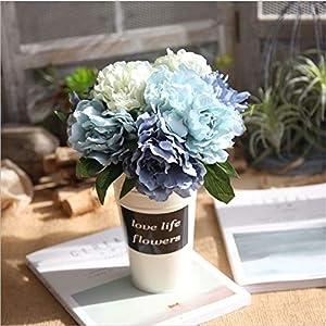 ShineBear NieNie Artificial Flowers Tiffany Blue Peony Bouquet for Wedding Decoration 5 Heads Peonies Fake Flowers Silk Hydrangeas Flowers 8