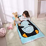 PomCo Cotton Baby Sleeping Bag Toddler Winter Cartoon Slumber Bag Kids Bedding Set Sleep Sack Bag Includes Pillow Core for Indoor and Travel(Cute Penguin)