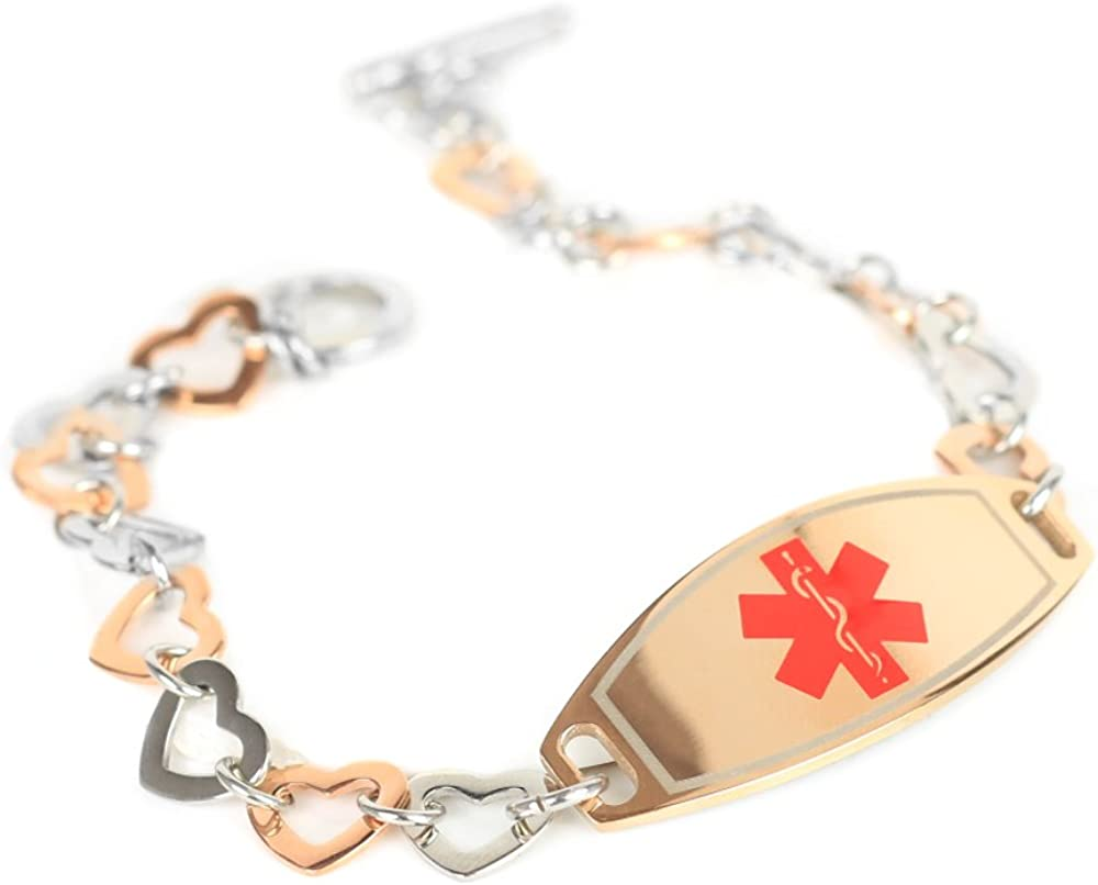 My Identity Doctor – Custom Medical ID Bracelet with Engraving – 1cm Steel Rose Hearts 9mm – Made in USA