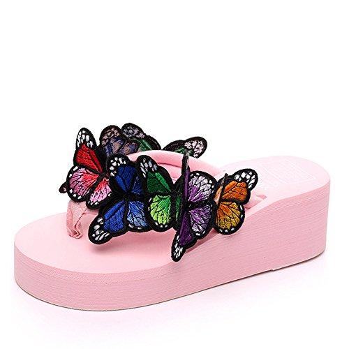 Pink Platform Butterfly Flipflops Antiskid with Casual Sandals Women's Slide Beach fereshte qaUFFv