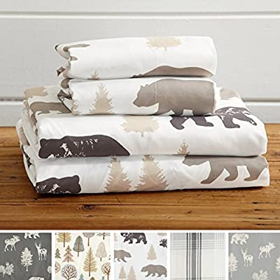 Great Bay Home 4-Piece Lodge Printed Ultra-Soft Microfiber Sheet Set. Beautiful Patterns Drawn from Nature, Comfortable, All-Season Bed Sheets. (Queen, Bear) - LODGE PRINTED PATTERNS: Choose from a variety of beautiful, fade-resistant patterns drawn from the life of the American forest.. Each set comes with 1 fitted sheet, 1 flat sheet and 2 pillowcases (1 for Twin size). HOTEL/SPA QUALITY: These affordable microfiber sheets feel silky smooth against your skin. They're made from 90 GSM material that keeps you cool in the summer and toasty warm in winter. This 100% polyester fabric is WARM, SOFT, FLEXIBLE, and BREATHABLE for maximum sleep comfort. PERFECT FIT EVERY TIME: These DEEP POCKET sheets fit mattresses up to 17 inches deep, with a fully elasticized fitted sheet. They're available in Twin, Full, Queen and King sizes to fit any bed. See below for exact measurements. - sheet-sets, bedroom-sheets-comforters, bedroom - 51qoX13BJHL. SS400  -