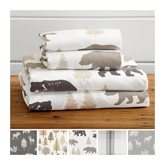 Great Bay Home 4-Piece Lodge Printed Ultra-Soft Microfiber Sheet Set. Beautiful Patterns Drawn from Nature, Comfortable… - LODGE PRINTED PATTERNS: Choose from a variety of beautiful, fade-resistant patterns drawn from the life of the American forest.. Each set comes with 1 fitted sheet, 1 flat sheet and 2 pillowcases (1 for Twin size). HOTEL/SPA QUALITY: These affordable microfiber sheets feel silky smooth against your skin. They're made from 90 GSM material that keeps you cool in the summer and toasty warm in winter. This 100% polyester fabric is WARM, SOFT, FLEXIBLE, and BREATHABLE for maximum sleep comfort. PERFECT FIT EVERY TIME: These DEEP POCKET sheets fit mattresses up to 17 inches deep, with a fully elasticized fitted sheet. They're available in Twin, Full, Queen and King sizes to fit any bed. See below for exact measurements. - sheet-sets, bedroom-sheets-comforters, bedroom - 51qoX13BJHL. SS570  -