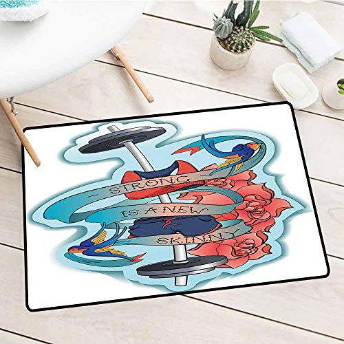 Waterproof, Easy Clean, Low-Profile Mats, Fitness, Strong Is a New Skinny Artistic Composition Birds Flowers Barbell, Light Blue Dark Coral Grey, 15.5