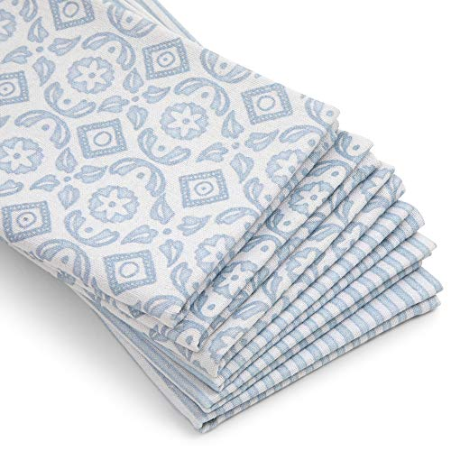 Abelia Collective Decorative Kitchen Dish Towel, Set of 6, Organic Linen and Cotton Blend, Light Blue, Striped and Floral Pattern - Tea Towels for Drying Dishes and Hands or Serving Drinks and Food
