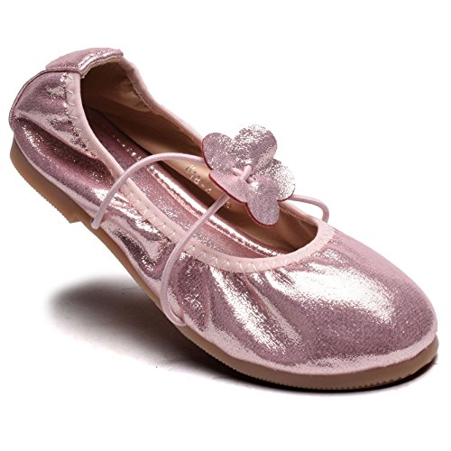 Minigift Girl's Mary Jane Ballet Flat Shoes MG001 Adorable Doll Shoes with Glitter Flower-Pink-28