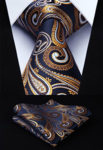 HISDERN Extra Long Floral Paisley Tie Handkerchief Men's Necktie & Pocket Square Set ,Navy Blue & Gold,XL, 63 inches length (Tie Extra Paisley Long Gold)