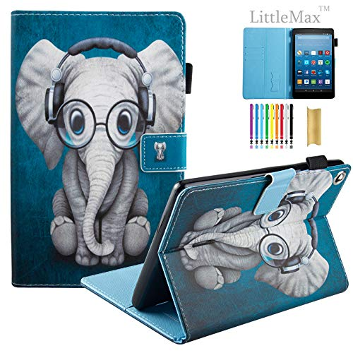 LittleMax(TM) Kindle Fire HD 8 Case, PU Leather Case Flip Stand Protective Auto Wake/Sleep Cover for Amazon Kindle Fire HD 8 7th Gen 2017 Release & 6th Gen Release 2016 -#4 Headphone Elephant - Gen Headphone