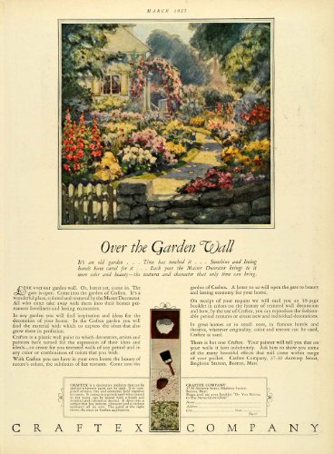 1927 Ad Craftex Boston Massachusetts Garden Flower Fence Decor Design Paint - Original Print Ad