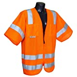 Radians SV83OMXL Class 3 Standard Mesh Safety Vest with Short Sleeves, X-Large, Orange