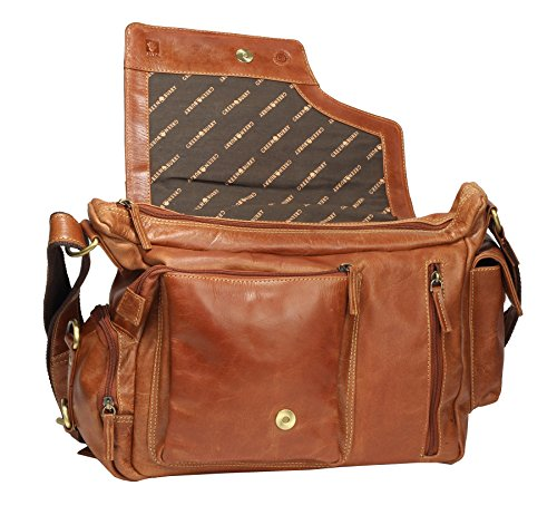 Vera pelle 39 x 28 x 13 cm Greenburry Expedition Borsa a tracolla cognac