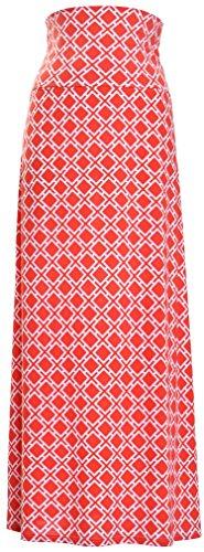 Printed Maxi Skirt (Medium, Coral Lattice)