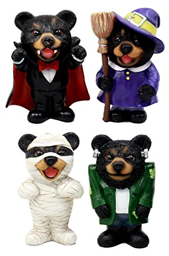 Ebros Gift Halloween Costume Horror Bears Figurine Set 4